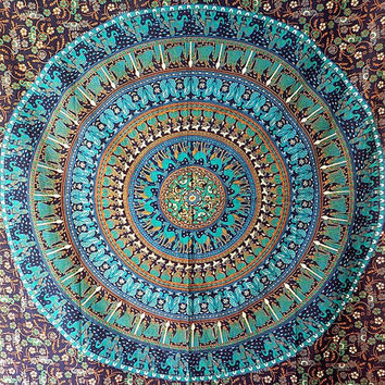 SMALL Blue Mandala Tapestry Wall hanging, Bohemian Hippie Tapestries, Indian Bedspread Bedding Throw, Hippy Boho Ethnic Home Decor