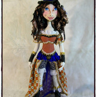 Cloth Doll, Steam punk Art Doll, Collectible home decor, Handmade figures, Textile Art doll