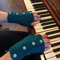 Dark Teal Fingerless Gloves with Vintage Buttons, Green Hand Warmers, Teal Gloves, Fingerless Mittens