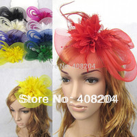 3pcs/lot Feather and flower Fascinator Hat with black headband- wedding, ladies day - choose any colour
