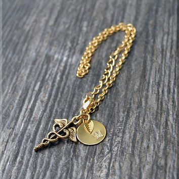 Gold Caduceus Charm Necklace, Initial Charm Necklace, Personalized, Caduceus Pendant, Nursing Jewelry, Monogram Caduceus bracelet