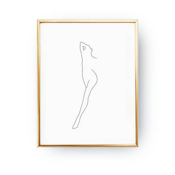 Female One Leg, Sketch Wall Art, Woman Art, Minimal Art, Simple Fashion Art, Female Body, Black And White, Naked Print, Feminine Poster