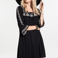 Embroidered Mini Bell Tunic Dress - Black