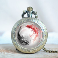 Fish Pocket Watch Necklace,Steampunk Taichi Yin Yang Pattern Necklace