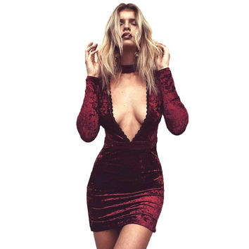 SMOVES Womens Sexy Lace Trimmed Deep V Neck Long Sleeve Velvet Dress