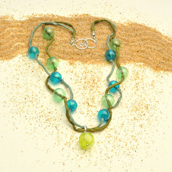 Sea Bubbles and Mermaid Silk Necklace