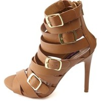 Dollhouse Strappy Belted Single Sole Heels by Charlotte Russe - Tan