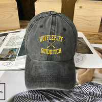 Hufflepuff Quidditch Harry Potter Hogwarts hat Black Blue White - Baseball Cap, Dad Hat Baseball Hat, Low-Profile Baseball Cap Tumblr