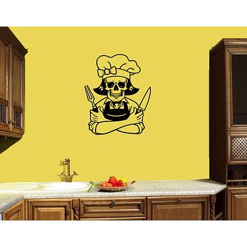 Wall Decal Chef Skeleton Skull Kitchen Decor Vinyl Sticker (ed1169)