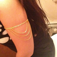 Bohemian Gold Arm Chain Women Upper Arm Bracelet Sexy Tassel Body Chains Arm Cuff 2015 New  Body Jewelry Accessory