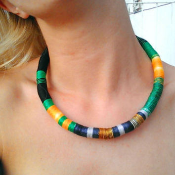 Unisex Choker Rope Necklace Thread Wrapped Necklace Choker necklace African Choker African Necklace African Jewelry Festival Fashion