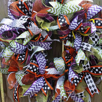 Halloween Deco Mesh Wreath, Front Door Hanger, Mesh wall decor, polka dots, chevron, orange, black, purple, green, Very large and full