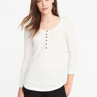 Old Navy Womens Semi-Fitted Rib-Knit Henley For Women Creme De La Creme Size M