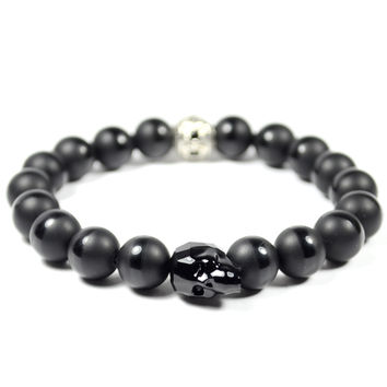 Jet Black Swarovski Skull and Onyx Bracelet