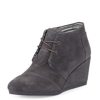 Suede Desert Wedge Bootie, Dark Gray - TOMS