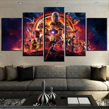New 5 Pieces HD Print Large Avengers Infinity War Movie Poster Paintings on Canvas Wall Art for Home Decorations Wall Decor