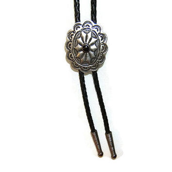 New! Bolo Tie, With Tension Bolo Back, Southwestern, Silver Jewelry, Antique Finish, Black Enamel, Leatherlike Cord, #1083B-3C, SALE PRICE