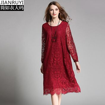 Hot hollow out solid color women autumn dress Elegant o-neck 4XL loose Knee Length Cocktail Bodycon Casual Party lace dress