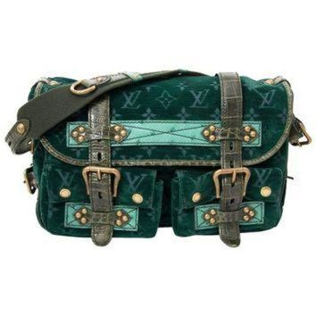 PEAPYD9 Louis Vuitton Limited Edition Green Monogram Velour Clyde Mon Bag