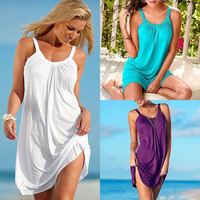 Women's Summer Casual Sleeveless Evening Party Beach Dress Short Mini Dress