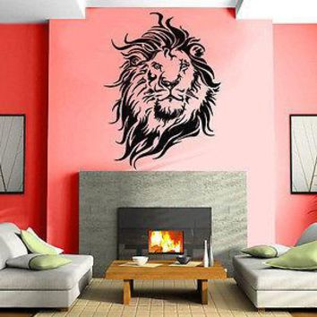 Wall Stickers Vinyl Decal Lion King of the Jungle Big Cat Head Portrait Unique Gift EM085