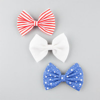 Full Tilt 3 Piece Bow Hair Clips Red One Size For Women 25809430001