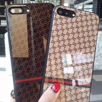 DCCKJ1A Gucci Steel glass for anti-drop packing phone case shell  for iphone 6/6s,iphone 6p/6splus,iphone 7/8,iphone 7p/8plus, iphonex