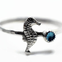 3mm Swiss Blue Topaz Ring, Silver Seahorse Ring, Ocean Jewelry, Animal Ring