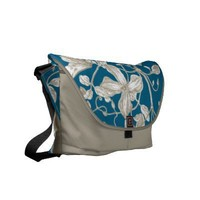 Flowering Vines Botanical and Stripe Messanger Bag Courier Bags from Zazzle.com