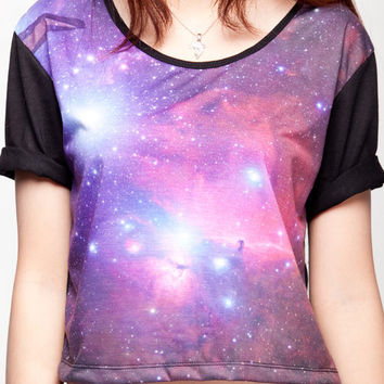 Galaxy Crop Top Pink & Blue Planet Cosmic from TeeTwice on ...