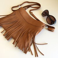 Brown Fringe Leather Bag,Fringe Leather Purse,Tan Brown Leather Crossbody Bag,Boho Fringe Messenger Bag,Brown leather Bag,Boho Leather Bag