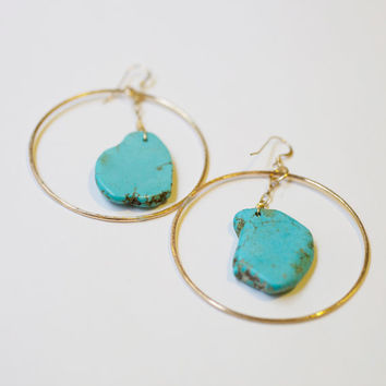 Turquoise Slab Hoop Earrings