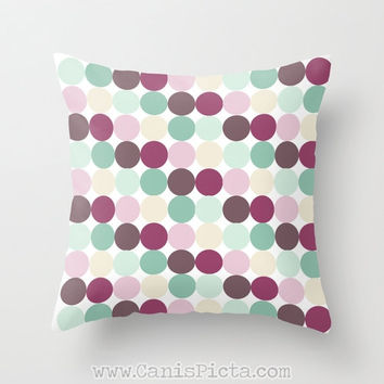 Modern Pastel Dots 16x16 Graphic Decorative Cover Couch Art Decorative Spring Purple Lavender Teal Green Mint Pink Blush Polka Geometric Blu