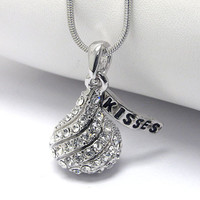 Hershey Kisses Chocolate Crystal Stud White Gold Plated Pendant Necklace