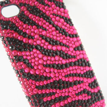 Black Purple Zebra Print Bling iPhone Case, Black Purple Zebra Print Bling iPhone 4 Case, Black Purple Zebra Print Bling iPhone 4/4s Case