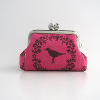 Coin Purse- Mini kiss lock jewelry case with ring pillow- bird on pink