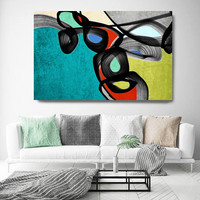 """Vibrant Colorful Abstract-0-63. Mid-Century Modern Green Red Canvas Art Print, Mid Century Modern Canvas Art Print up to 72"""" by Irena Orlov"""