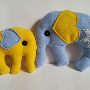 Sewn Elephants, Two Elephants, Elephant Set, Blue and Yellow Elephant