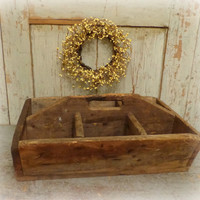antique wooden tool carrier / box / tote / caddy / primitive farmhouse / EPSTeam