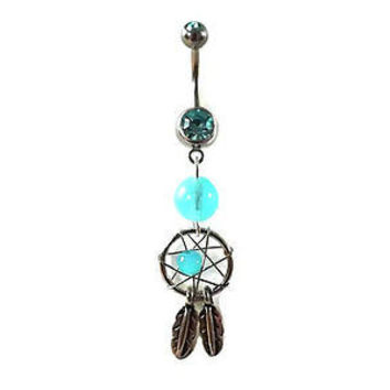 Glow In the Dark Dream Catcher Belly Ring Navel Ring 14ga Surgical Stainless