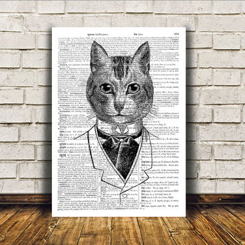 Animal art Cat poster Dictionary print Modern decor RTA416