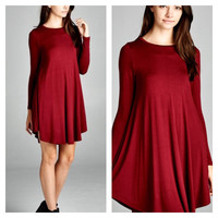 A Burgundy Long Sleeve Swing Dress