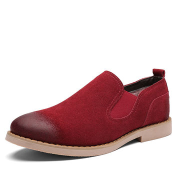 true cow leather plush inside warm boots men black grey red slip on flats shoes boot hot sales chelsea boots men cheap boots