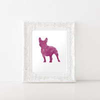 French Bulldog Watercolor Art Print - French Bulldog Silhouette Print - INSTANT DIGITAL DOWNLOAD - Fuchsia French Bulldog Art Print