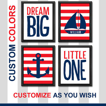 nautical themed nursery wall art striped kids room decor navy and red anchor and sailboat personalized nautical boy wall art baby gifts