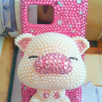 Verizon Motorola Droid Bionic XT875 Fashional Bling Charms Phone Case Cover Skin: Pink Rhinestone Luxury 3D Effect Pearl Pig