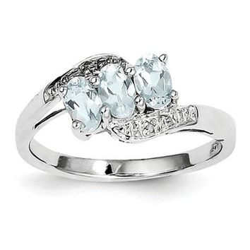 Sterling Silver 3-Stone Genuine Aquamarine & Diamond Ring