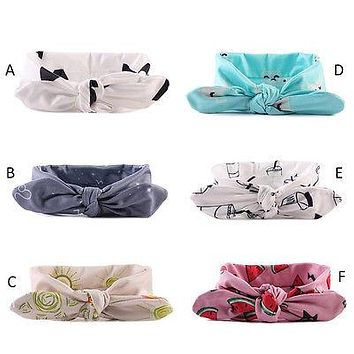 Cute Girls Kids Baby Toddler Turban Knot Rabbit Headband Bow Hairband Head Bands