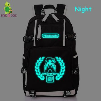 Anniversary Super Mario Bros Luminous Backpack College Student Schoolbag Women Men Casual Travel Bags Large Laptop Backpack