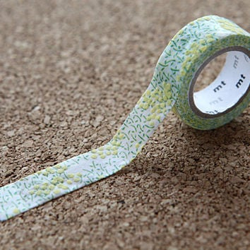 Green Flower Blossom, Japanese Washi Paper Masking Tape - mt fab, Flocky - Scrapbooking, Decor, Kawaii Natural Deco Collage, Gift Wrapping